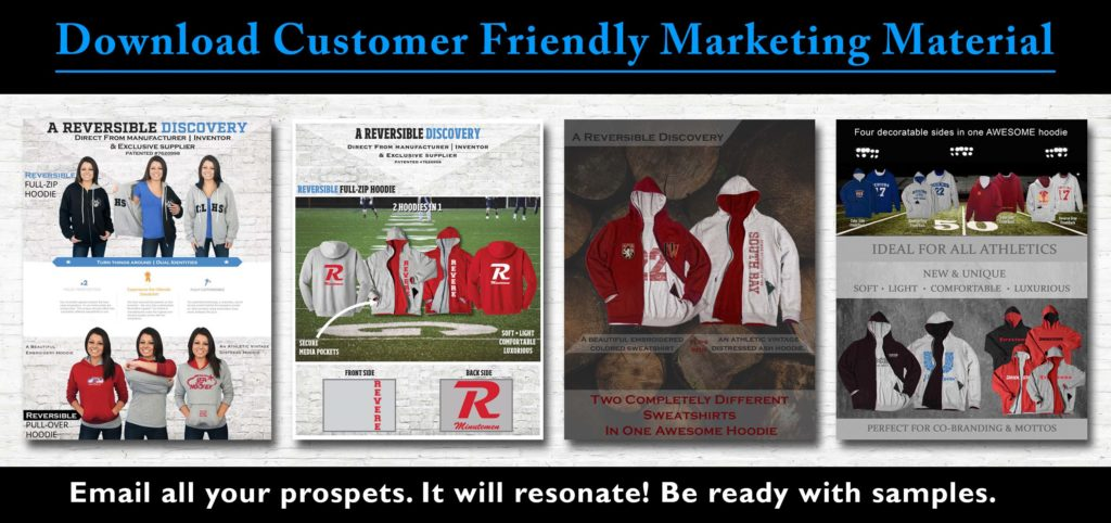 Reversible sweatshirts marketing material